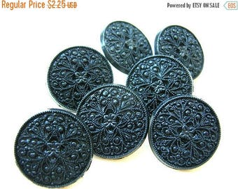 21 MM Black Button Lot - Ornate Buttons