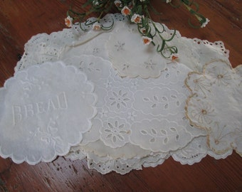 11 white eyelit embroidered doilies vintage white cotton pieces, lot of lace cotton pieces ,shabby chic linens cottage pieces hermina cottag
