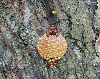 Ash Tree Amber Circle Pendant, Mala Bead, Nature Eco Friendly Wooden Necklace, Woodland Boho Hippie Pendant Amulet, Wood Circle Pendant