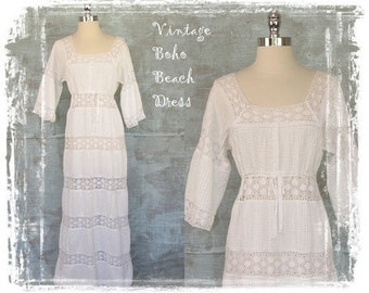 Vintage Mexican Wedding Dress, 1960s Dress, Boho Beach Dress, White Dress, Crochet Lace Dress, Long Dress, Maxi Dress, Small