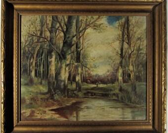 Oil Painting Original  Woods Stream Landscape Person 1800s Turn of Century