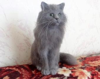 Custom Sculptural Portraits Persian Cat from Wool - Copy Your Pet - Needle Felting