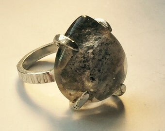 Silver ring with phantom quartz