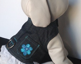 Denim Dog Harness W/ Flower  - Size XXS, XS, S, M (Made to order)