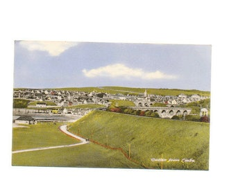vintage chrome postcard town view of Cullen from Links, Scotland,  1963