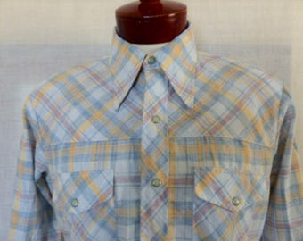 vintage 70s Sear's Men's store Jean Joint pastel pale blue yellow red heather plaid check pattern western shirt long sleeve big collar large