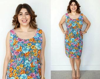 Vintage Floral Dress / 1990s Versus Versace Dress / Sleeveless Dress / Versace Floral Dress / Designer Dress / Bodycon Dress / Pencil Dress