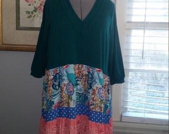 Upcycled boho dress/tunic..junk gypsy style dress..2x-3x..eco clothing..plus size boho dress..urban prairie dress..