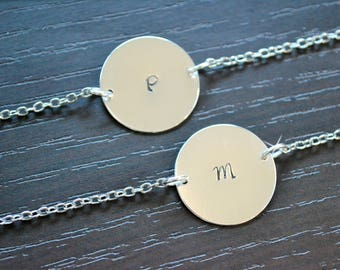 Bridesmaid Gift, Mother of the Bride Gift, Bracelet, Simple Necklace, Simple Bracelet, Silver Disc, Monogram, Engraved, Initial Bracelet