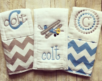 Personalized baby boyburp cloths - airplanes