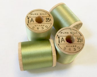BELDING CORTICELLI - Vintage Thread - #9630 Lettuce Green - Pure Silk - 100 yds - Chartreuse Color - Embroidery Ribbonwork Fly Tying