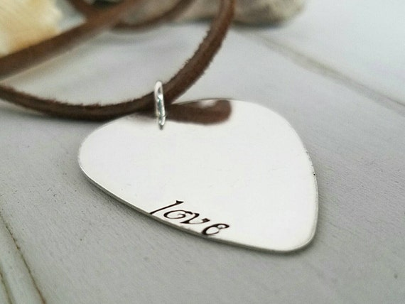 Custom Guitar Pick Necklace, Sterling Silver, Personalized mens necklace, Name plate, Musician necklace, Fathers Day gift, Daddy necklace