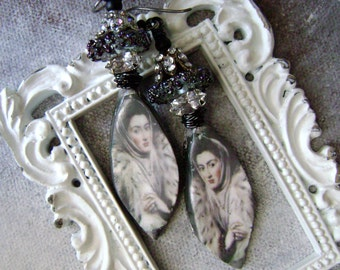 Veiled Snow Queen, assemblage earrings, mixed media earring, lampwork beads, cameo, scorched earth, unique ooak earrings, AnvilArtifacts