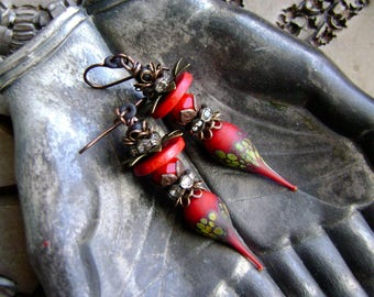 lampwork spikes mixed media assemblage earrings, red raku glass, rustic rhinestone earrings, ooak artisan handmade earrings, AnvilArtifacts