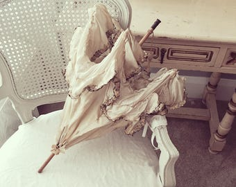 CLEARANCE Antique tattered cream silk ruffled lace wood victorian small parasol display shabby french nordic chic