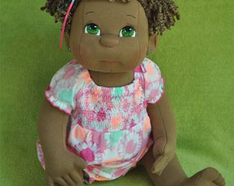 """Custom Listing for Shuree #3. Fretta's 56 cm / 22"""" tall Soft Sculpture Dark Skin life size jointed Baby Girl. Textile Baby Doll."""