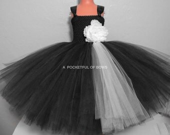 Flower Girl Dress, Black and Ivory Ball Gown, Black Toddler Tulle Dress, Toddler Formals