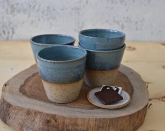 Espresso Tumblers set, Pottery Short Espresso Cups set, 2 stoneware small coffee mugs set, set of 2, Espresso shot cups, Coffee Gift Idea