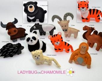 Desert animals,ASIAN ANIMALS felt magnets  - Price per 1 item - make your own set - Panda, Tiger, Orangutan, Yak, Snow leopard, Camel