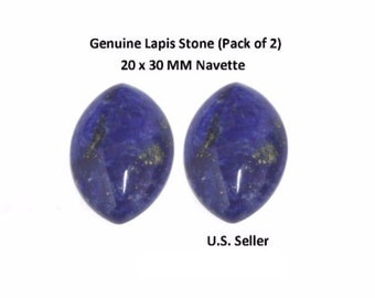100% Natural Lapis Cabochon 20 x 30 MM Navette (Pack of 2)
