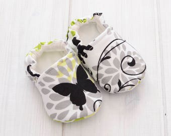 Cute Shoes for Girls - Gray & Green - Newborn Baby Girl Shoes - Slip on Walking Shoes - Best Toddler Shoes - 1422