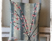 Vintage barkcloth fabric mini messenger bag  pink Forsythia on grey