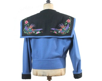 1980 Kansai Yamamoto  Embroidered blue wool Jacket/ 80s embroidered jacket