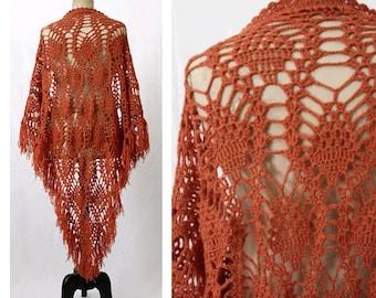 1970 Crochet wool Shawl Ginger Bronze/70s fringe wool shawl
