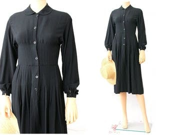LBD vintage does 40s Long sleeves black dress Nippon Boutique small