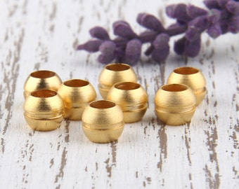 Large Holed Round Gold Beads, Bead Supplies, Jewelry Supplies, 8pcs// GB-173