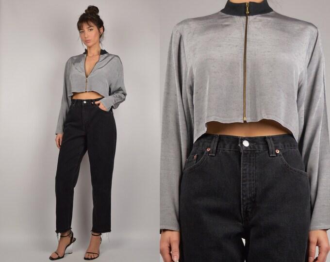 80's Long Sleeve Crop Top minimalist zip up shirt