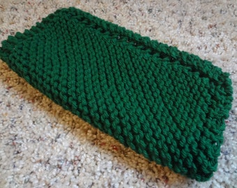 "Medium 8"" Square - Cotton Dish Cloth - Hand Knit - Green - Mix-N-Match"