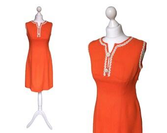 1960's Vintage Orange Dress - 60's Dress - Ecru Braid Trim - Sleeveless Dress - Orange Day Dress