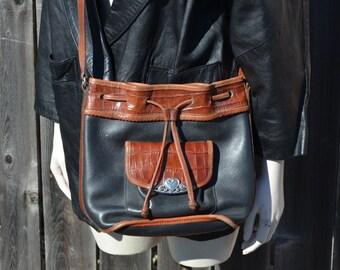 Women's Black and Brown Purse, Vintage Black Handbag, Brighton Purse, Leather Purse, Ladies' Pocketbook, Black Vintage Bag, Heart Lanyard