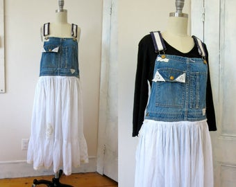 Upcycled Overall Dress - Recycled Denim - White Skirt - Lace Applique - Hand Made Dress - Recycled Overalls - Hippie Dress