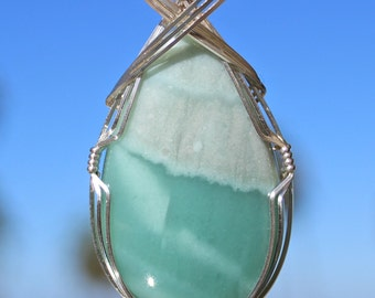 Chalcedony Mtorolite Stone Pendant, Argentium Sterling Silver Wire Wrapped, Handmade Stone Jewelry, Green Blue Color Stone Necklace