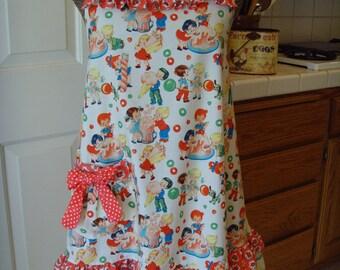 Aprons/ Women's Apron/ Retro Baby Doll Apron/ Ruffle Swing Style Apron Michael Miller Fabric Candy Shop/Valentine Apron