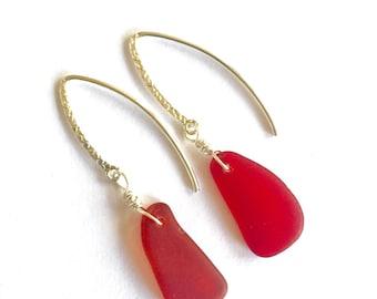 Red Sea glass earrings - sterling silver sea glass earrings - rare color sea glass earrings - red drop earrings