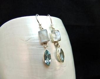 Moonstone & Blue Topaz Sterling Silver Earrings