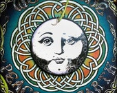 Moon Face Wall Hanging-  Antique Round Framed Art Print with Bubble Glass- Mother Goddess Wisdom of Full Moon