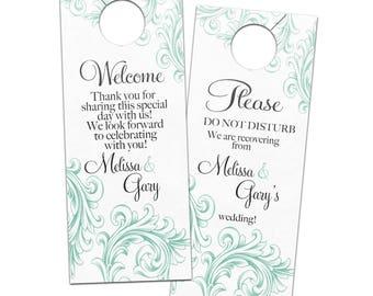 Gorgeous Vintage Ornate Flourish Wedding Hotel Door Hangers - Customizable Bridal Door Hanger for Reception Guests or Welcome Bags
