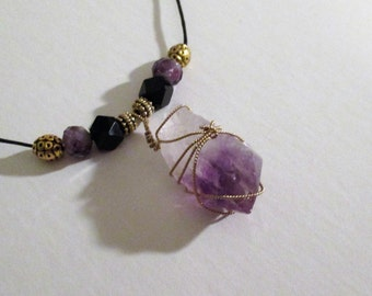 Large Amethyst Crystal Pendant Wrapped With Gold Wire
