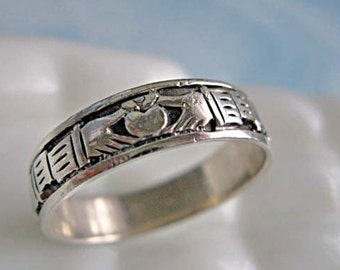 Claddagh Sterling Ring, Irish Celtic Wedding Band Mens Unisex, Four Heart Hands, Oxidized Silver, Size 13, Five Grams
