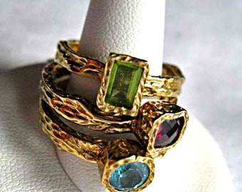 Sterling Rings Stacker Trio, Peridot, Garnet and Blue Topaz, Textured Wood Vines Tree Bark Shanks, Gold Vermiel, Signed 925 NH, Size 9