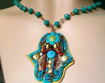 Protection pendant. Hamsa hand necklace, Hamsa necklace.Hamsa necklace turquoise.  Hamsa pendant, Hamsa. Evil eye.