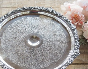 Sheridan Silverplate Engraved Cake Stand Pedestal Cake Plate Wedding Cake Plate Vintage Housewarming Gift for Bride and Groom
