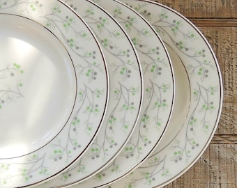 Thomas Haviland Greenbrier Salad or Dessert Plates, Set of 4, Tea Party, Modern, Retro, Mad Men