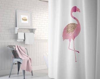Flamingo shower curtain, pink bathroom decor, rose gold, long shower curtain, white bath curtain, flamingo decor, pink bathroom decor