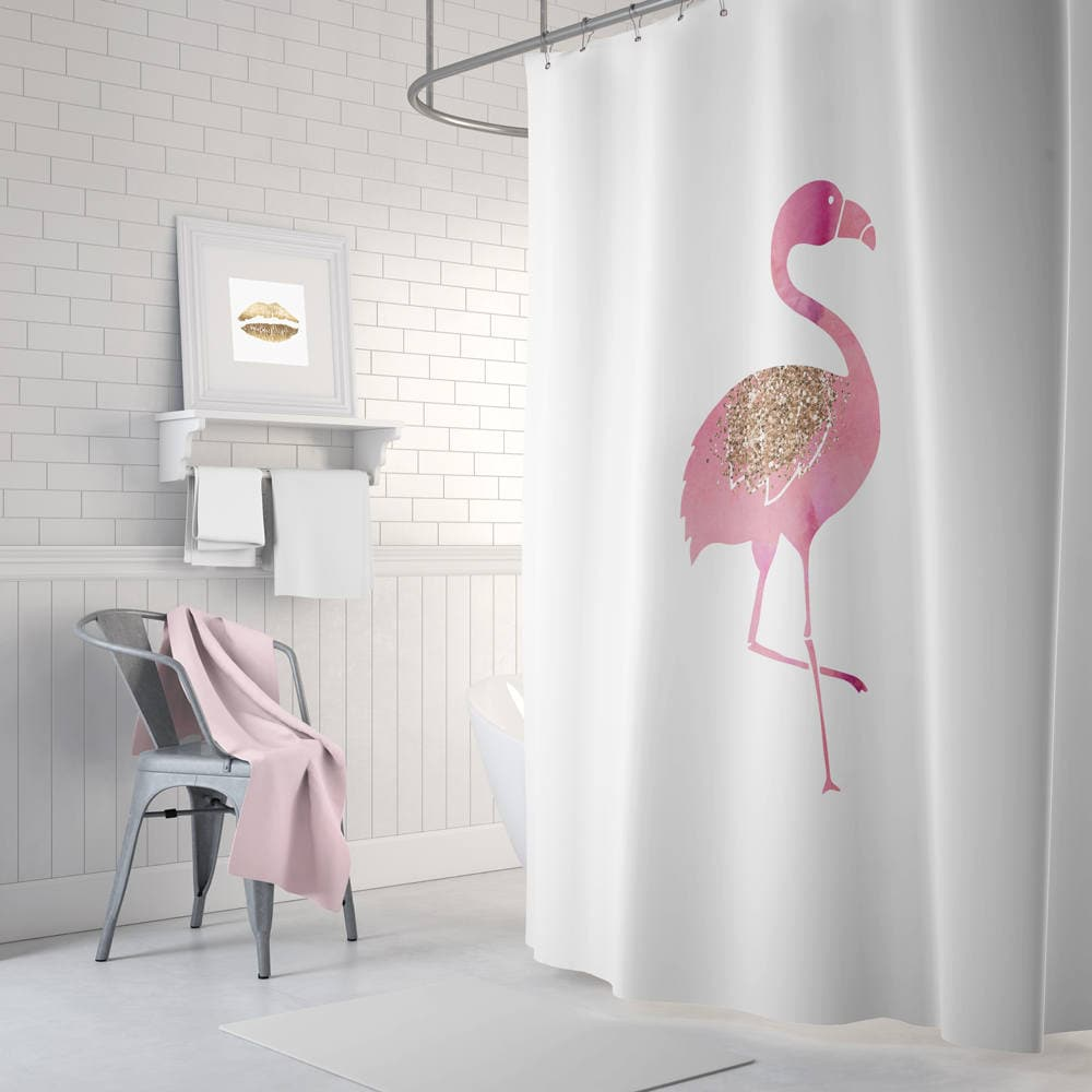 Flamingo shower curtain pink bathroom decor rose gold long for Pink and gold bathroom accessories