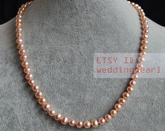 pink pearl necklace,6-6.5mm freshwater pearl necklaces,flower girl necklace,select length,pearl jewelry,wedding necklace,bridesmaid necklace